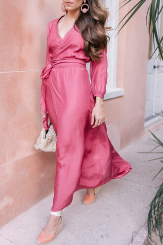 gal meets glam blogger shoes dress pink dress maxi dress wedges