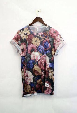 t-shirt dress oversized t-shirt loose tshirt tshirt dress floral floral t shirt cute dress tumblr shirt flowers cute sleeves exact brown t-shirt