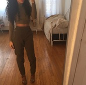pants,crop tops,high waisted pants,dope,tumblr clothes,top,olive green,dark olive green,jumpsuit,pinterest,army green,green,khaki pants