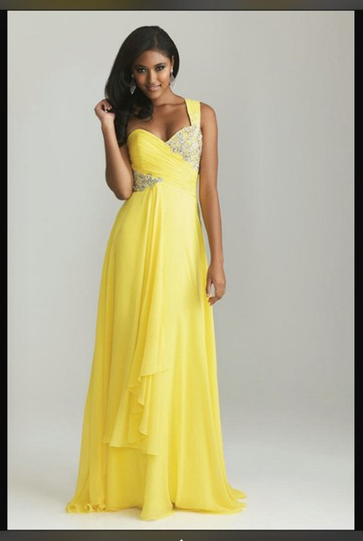 dress yellow dress prom dress one shoulder dress prom dress beaded long dress long prom dress