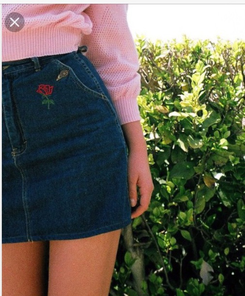 skirt rose roses embroidered rose embroidery denim skirt mini skirt rose skirt skirt rose embroidery vintage vintage skirt black denim with rose embroidery y