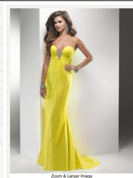 dress, prom dress, long prom dress, yellow, indie, pretty - Wheretoget