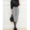 Aliexpress.com : buy autumn winnter chic high waist women's single breasted pure color formal pencil mid claf skirt from reliable skirt baby suppliers on surefavor store