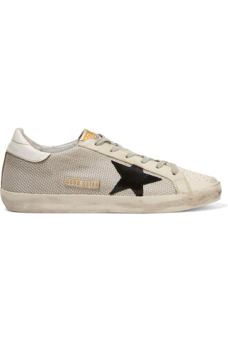 mesh sneakers leather white shoes