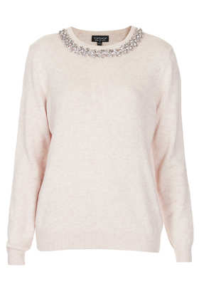 Knitted Crystal Stud Jumper - Knitwear  - Clothing  - Topshop