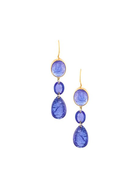Marie Helene De Taillac women triple earrings gold blue jewels