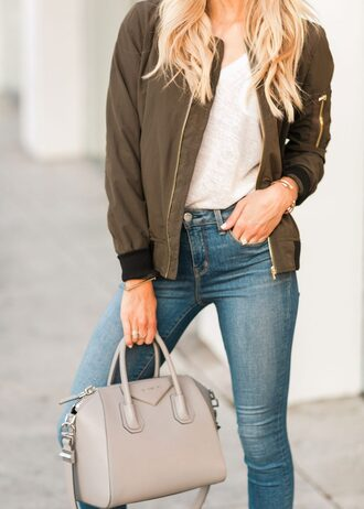 jacket tumblr khaki bomber jacket bomber jacket army green jacket bag grey bag denim jeans blue jeans top white top
