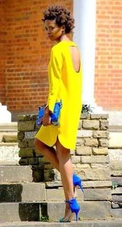 neon yellow,long sleeves,open back,long sleeve dress,dress,yellow,neon