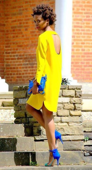 neon yellow long sleeves backless long sleeve dress neon yellow