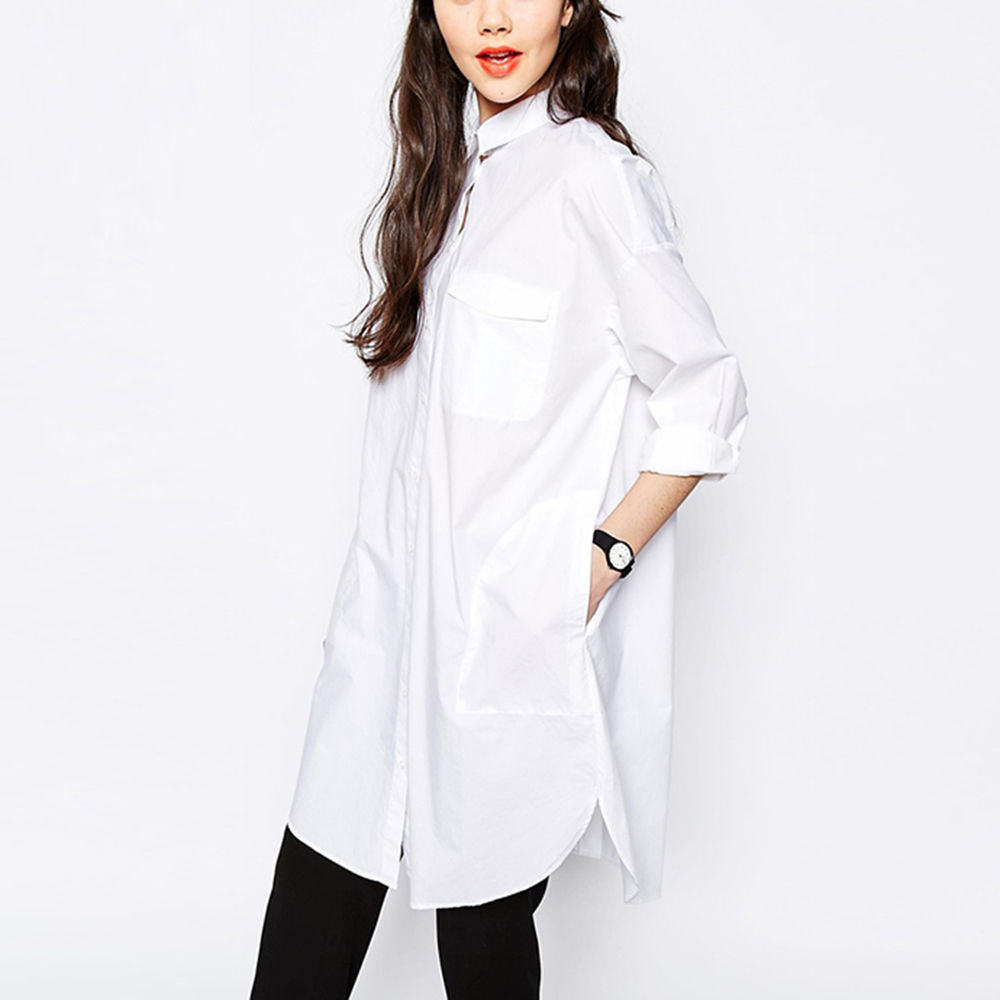 3f42790ac9b Lady Boyfriend Oversized Shirt Dress Loose Shirt Mini High-low Button Down  Dress