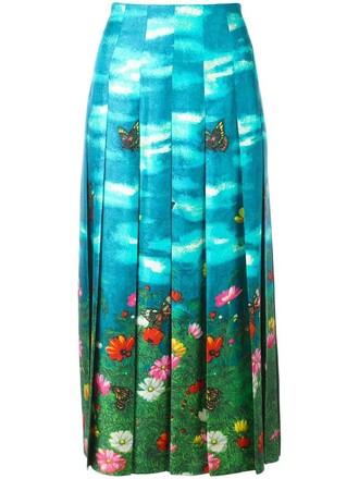 skirt women print blue silk