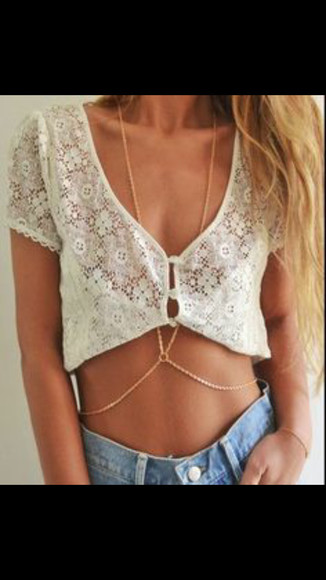 button up lace crop tops