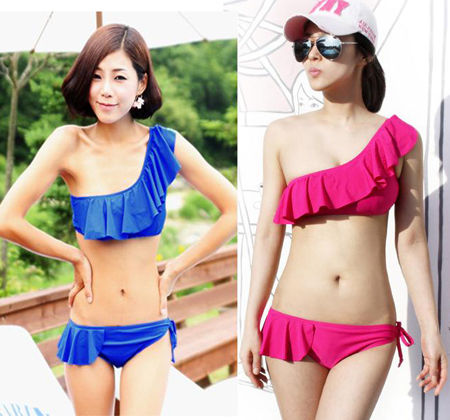 2 colors!!!new 3pcs new one shoulder bikini swimsuit m l xl