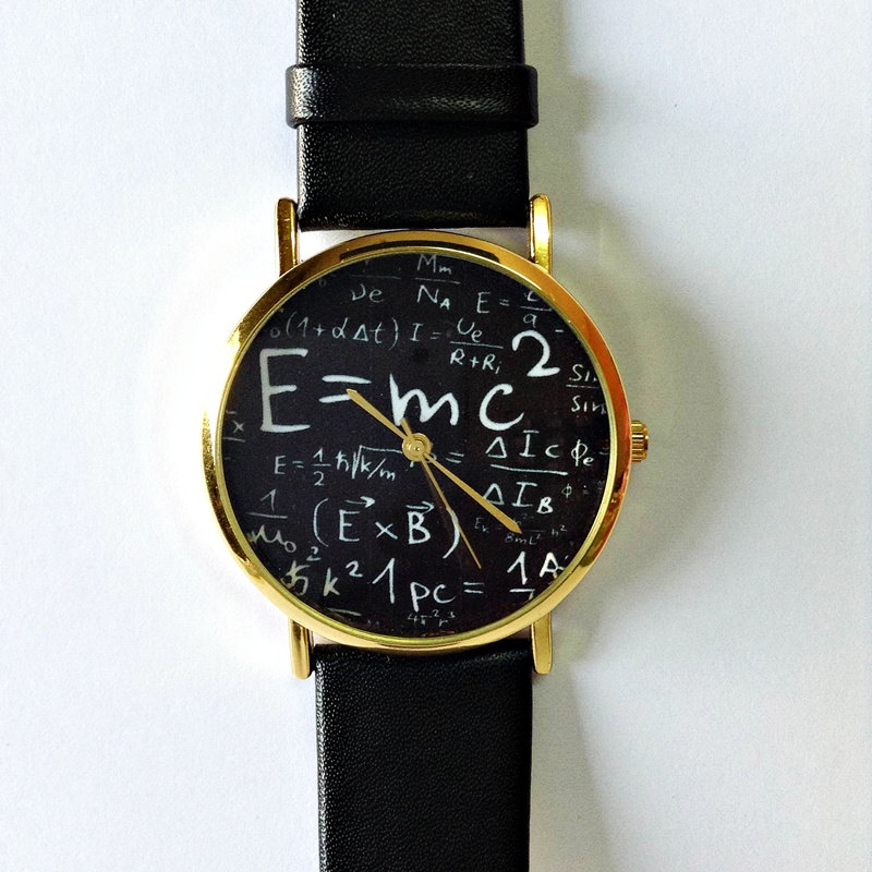 Einstein Watch , E=MC2 Equation Watch, Vintage Style Leather Watch, Women Watches, Mens Watch, Unisex Watch, Boyfriend Watch, White, Black,