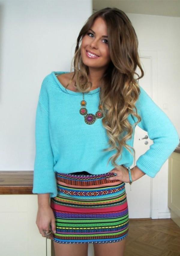 dress blue shirt striped skirt shirt skirt pencil skirt tube skirt cute clothes aztec tribal pattern sweater