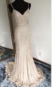 dress,rose,rose gold,gold,prom dress,gown,gold dress,rose gold dress