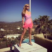 swimwear,pink,summer,summer outfits,one piece,one piece swimsuit,paris hilton,instagram,barbie,pink swimwear