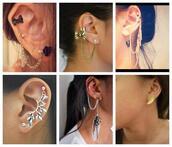 jewels,piercing,ear cuff,earrings,feathers,feather earrings,jewelry,accessories,chain