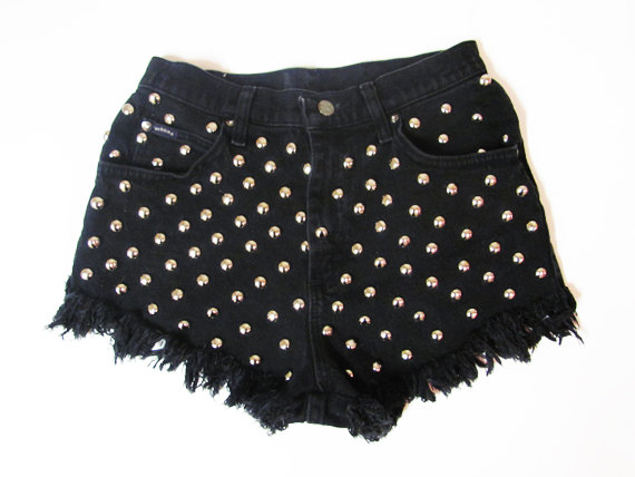 Studded shorts / distressed shorts / studded by standardexcessvtg