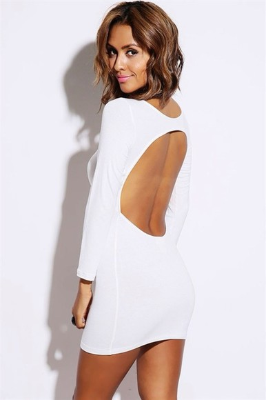 backless white dress long sleeves mini dress mini homecoming dress solid