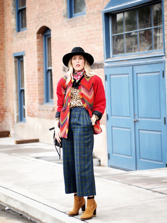 b. jones style blogger hat blouse pants bag cropped pants tartan native american red jacket jacket shoes