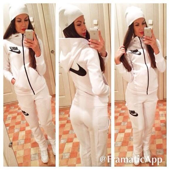 zip jumpsuit tracksuit jacket pants hoodie nike sportswear white