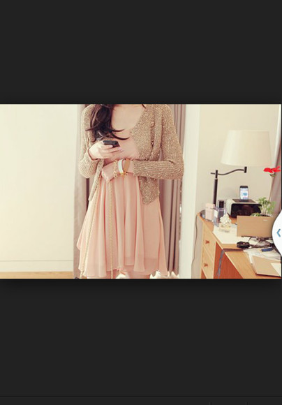 sweater knitted sweater beige sweater blouse dress beige dress pink dress peach dress salmon dress flowing dress kfashion gold sweater ulzzang fashion