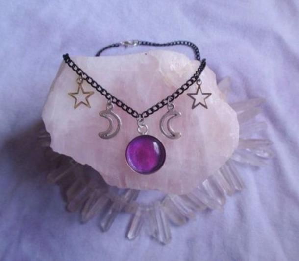 jewels necklace moon stars nebula purple black choker necklace nice cute
