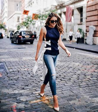 top tumblr navy blue top sleeveless denim jeans blue jeans shoes