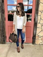 mrscasual,blogger,cardigan,tank top,shoes,jewels,sunglasses,jeans,bag