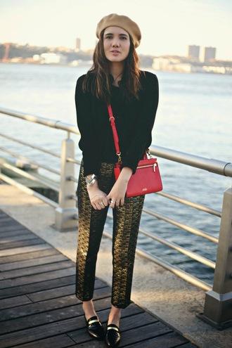 bag jewels blogger color me nana beret printed pants