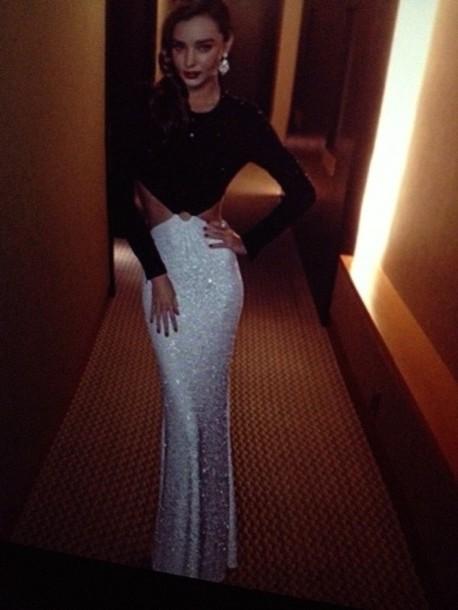 dress black gown sparkle long half prom dress