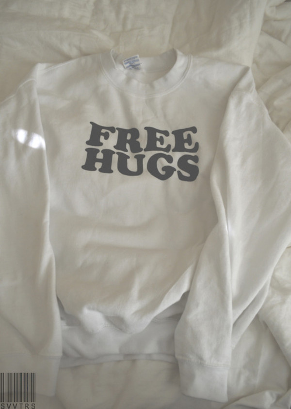 sweater free hugs jumper cute beautiful swag tumblr modern funny black and white jacket white cool style fashion black pretty warm