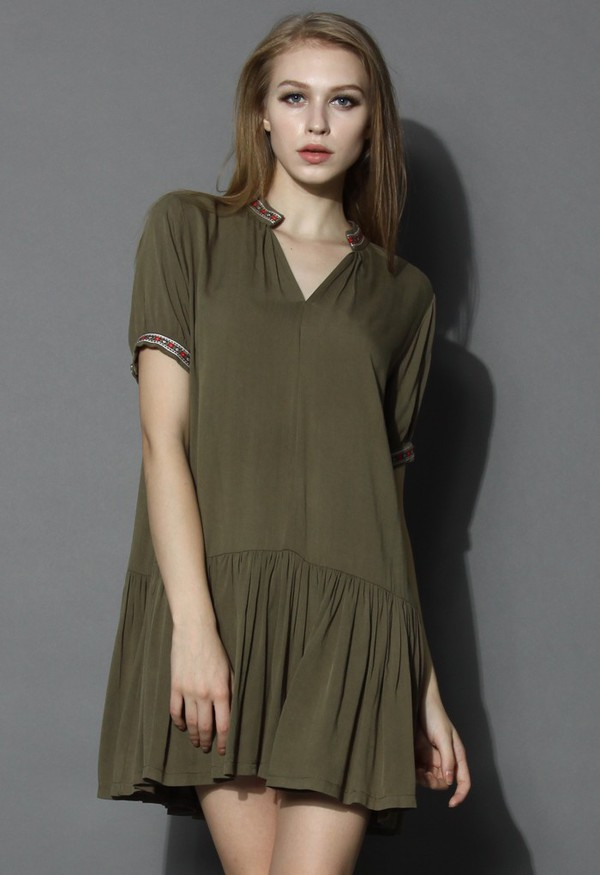 chicwish olive dress dolly dress