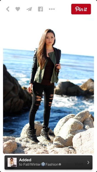 jacket leather jacket army green jacket bomber jacket outfit punk hipster jeans