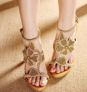 shoes,sandals,bling,gold,flowers,summer