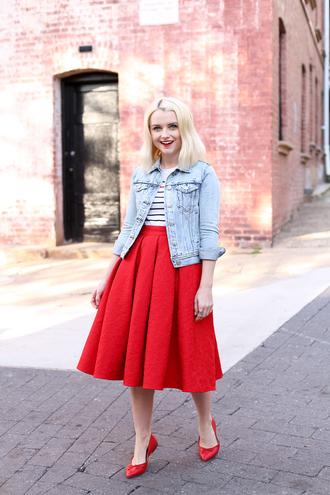 poor little it girl blogger skirt jacket t-shirt jewels red skirt denim jacket striped top midi skirt red shoes red heels