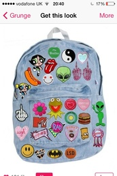 bag,patch,iron on,rad,cool,denim,bright,alien,heart,fab,yinyang,characters,cartoon,the simpsons,denim backpack,backpack,tumblr,soft grunge,pale,punk rock,indie,indie bag