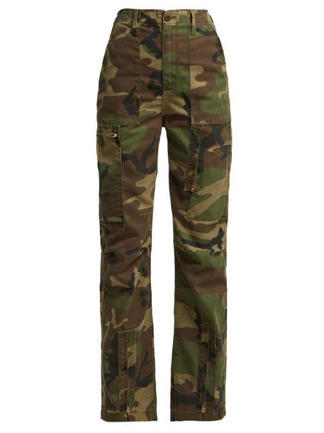 Re/done Originals - High Waisted Camouflage Print Jeans - Womens - Green Multi