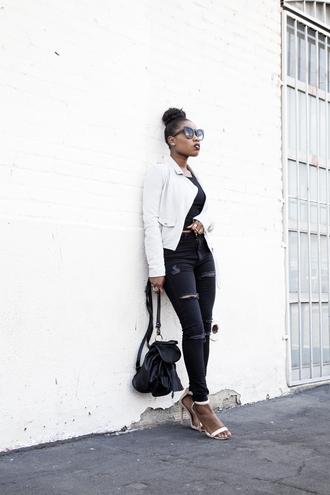 locks and trinkets blogger black jeans white jacket black top ripped jeans sandal heels black backpack backpack sandals black girls killin it