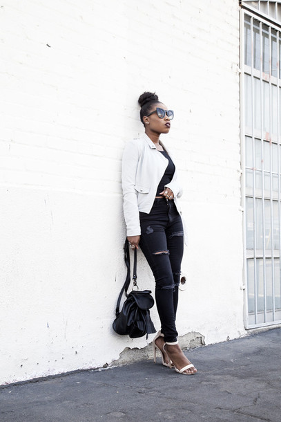 locks and trinkets blogger black jeans white jacket black top ripped jeans sandal heels black backpack backpack sandals black girls killin it white sandals