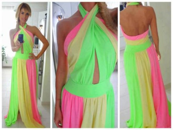Pink and yellow maxi dress
