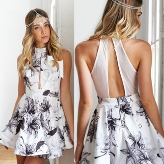 dress party dress mini dress floral dress black white monochrome monochrome dress hair hairstyles jewelry accessory accessories spring summer
