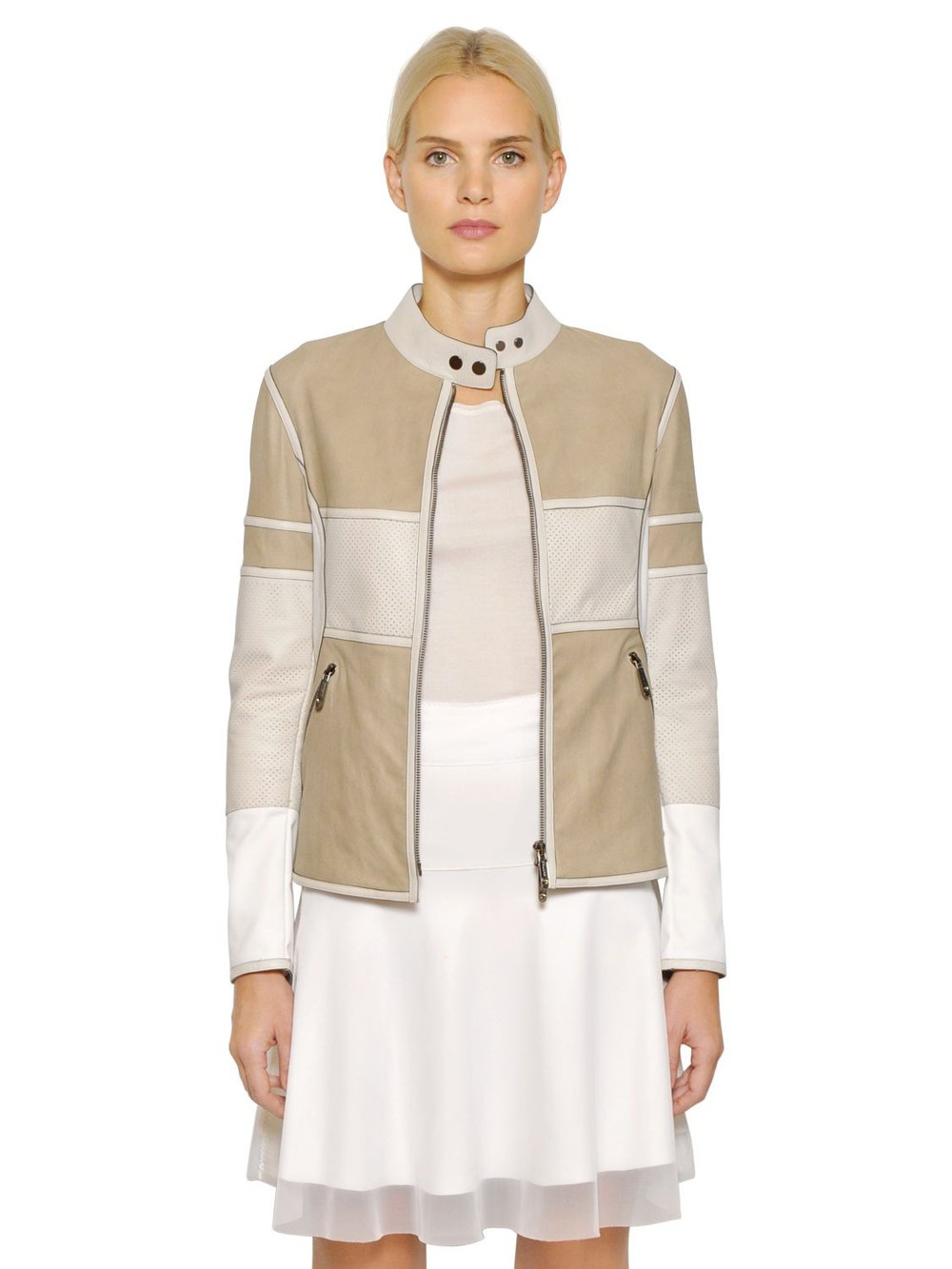 a46d9ae07a40 CALLENS Nubuck & Perforated Leather Biker Jacket in beige / white / beige