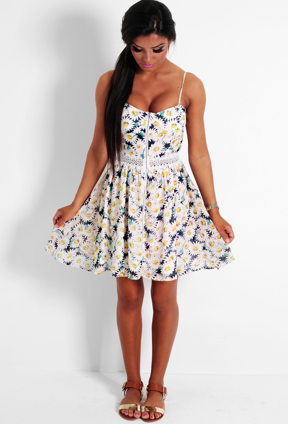 Spring Dream Navy and White Daisy Print Skater Dress | Pink Boutique