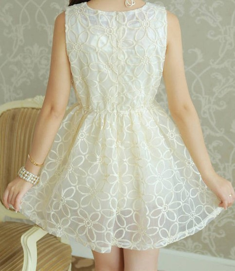 Outletpad | Floral lace skater dress white princess dress | Online Store Powered by Storenvy