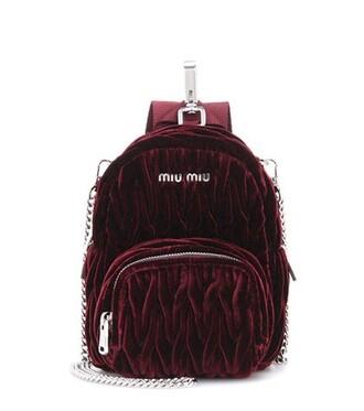 bag shoulder bag velvet red