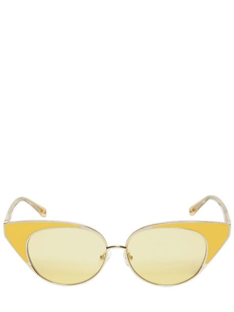 LINDA FARROW N.21 Cat-eye Sunglasses in yellow