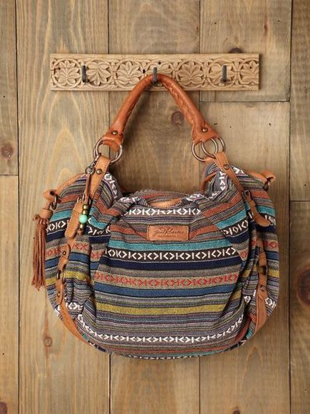 bag brown blue tribal