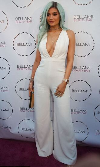 jumpsuit top kylie jenner white pants summer outfits
